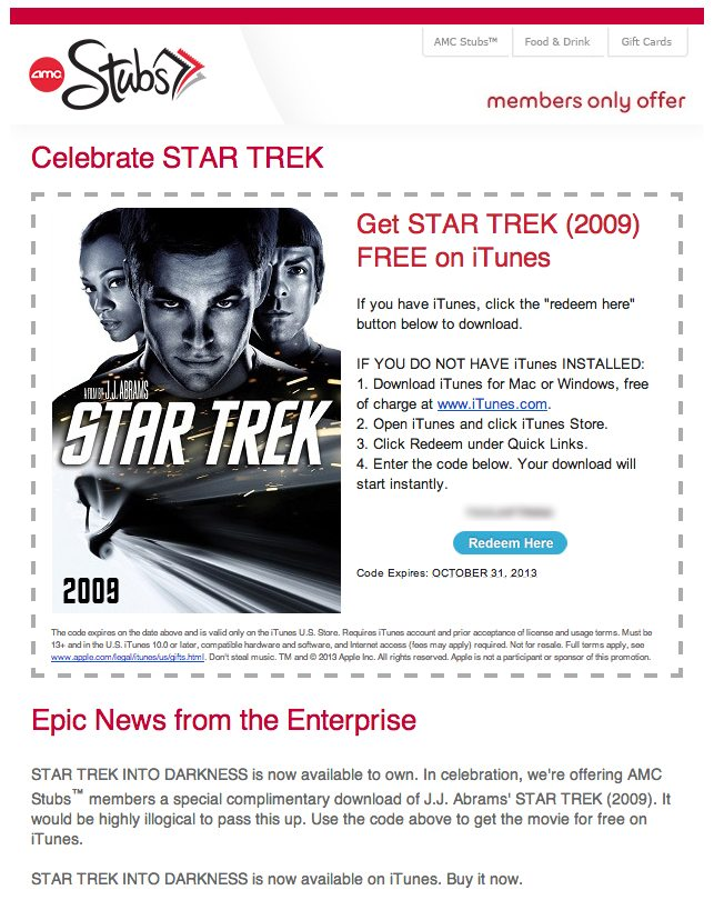 AMC Stubs Star Trek Download Promotion