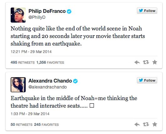 Earthquake Noah tweets
