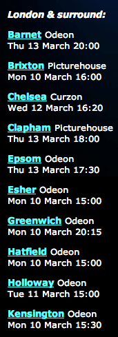 Closed Caption Showtimes