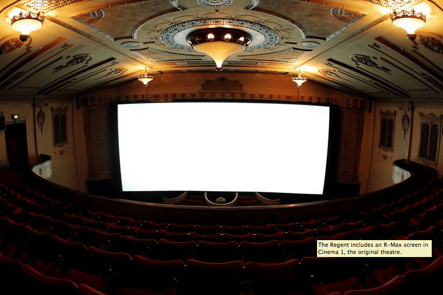 The Regent includes an R-Max screen in Cinema 1, the original theatre.