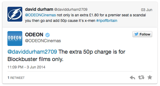 Odeon extra charge