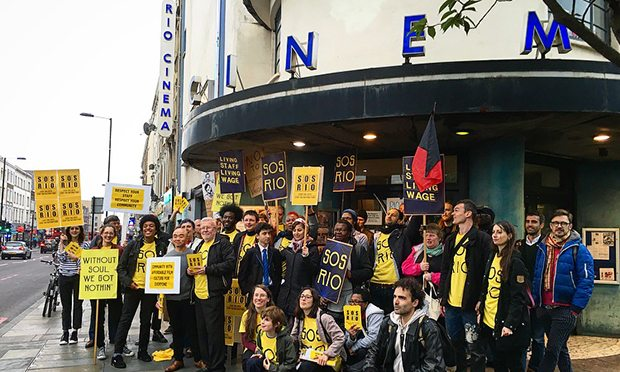 Striking cinema workers at the Rio Cinema