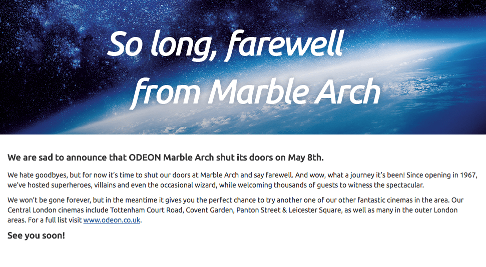 Odeon Marble Arch closes