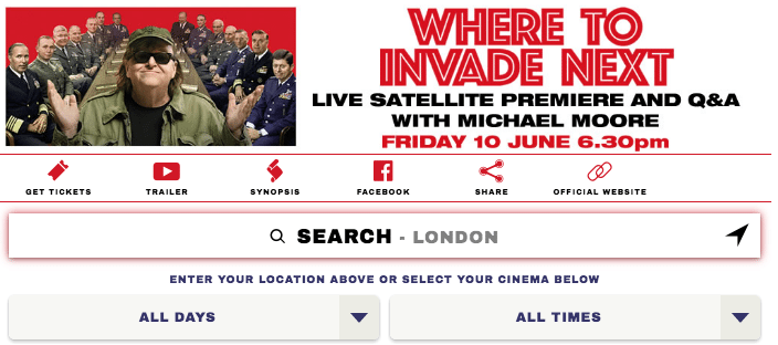 "Micheal Moore Q&A event cinema ""Where to Invade next"""
