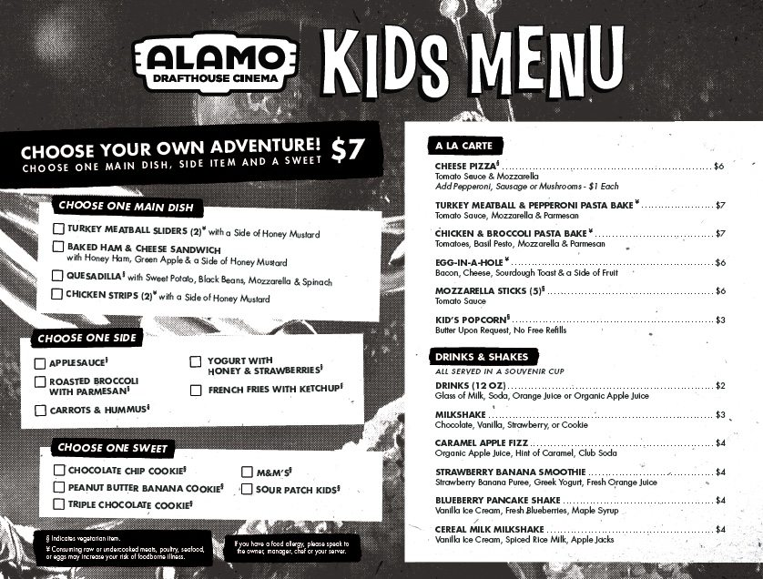 Alamo Drafthouse Kids menu