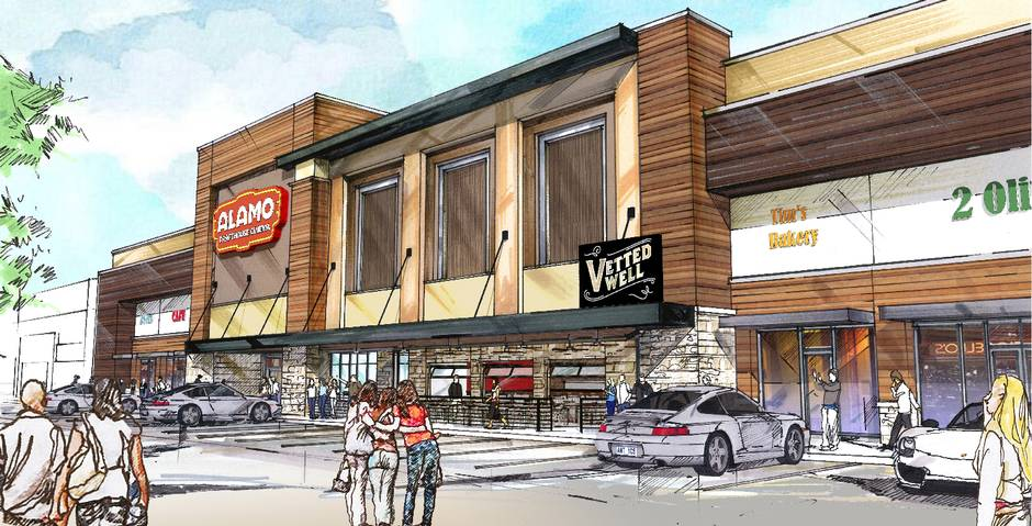 Hodges Architecture's renderings for the exterior of Dallas' second Alamo Drafthouse