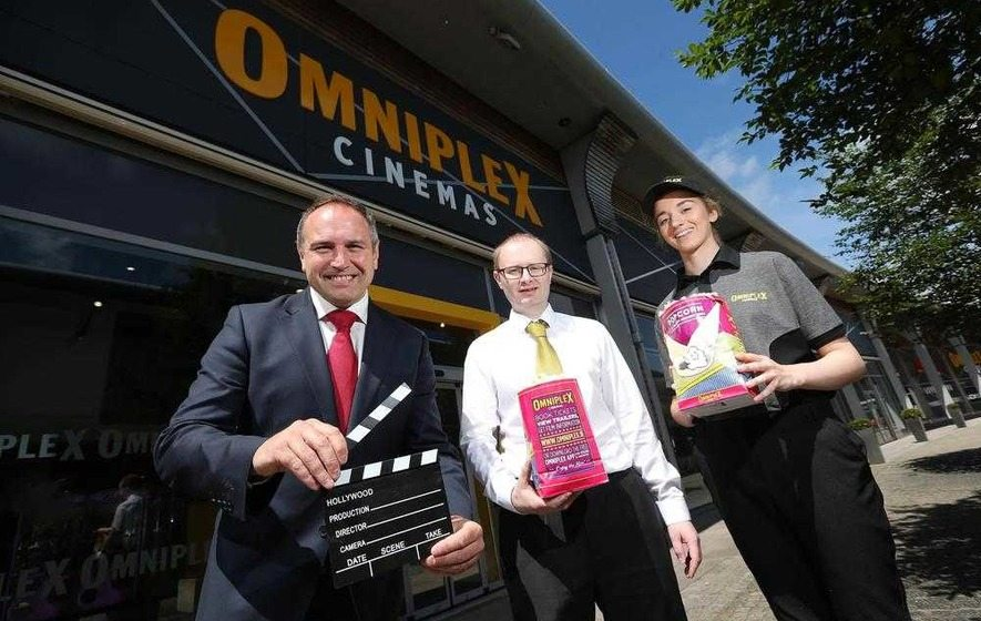 The Outlets manager Chris Nelmes, Omniplex Banbridge GM Simon Smyth and Aoife Weir.