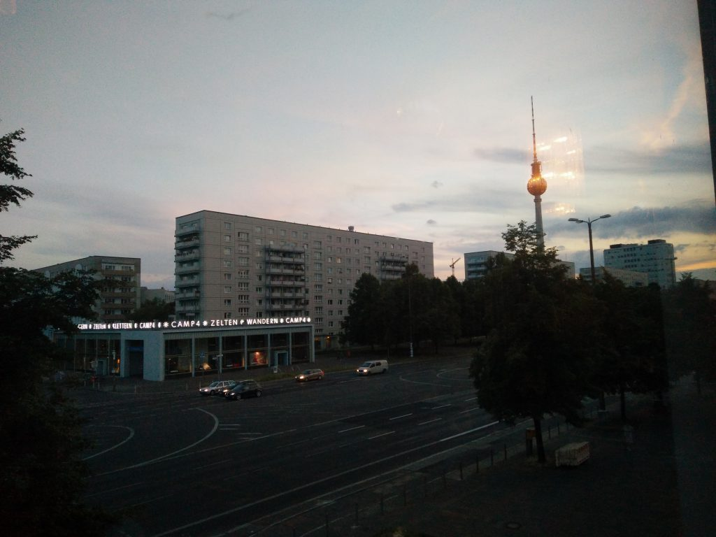 View of Karl-Marx-Allee and Fernsehturm from Kino International.