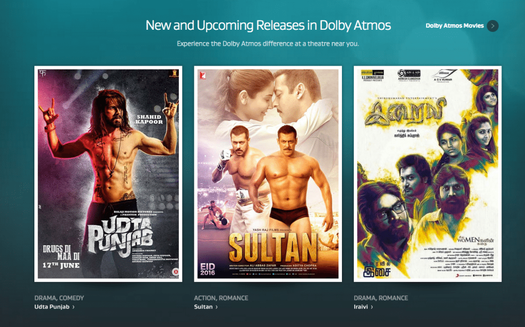 Indian films released in Dolby Atmos.