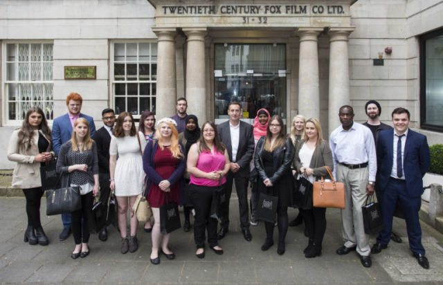 "FACT's ""Fight Film Theft"" recipients outside 20th Century Fox in London."