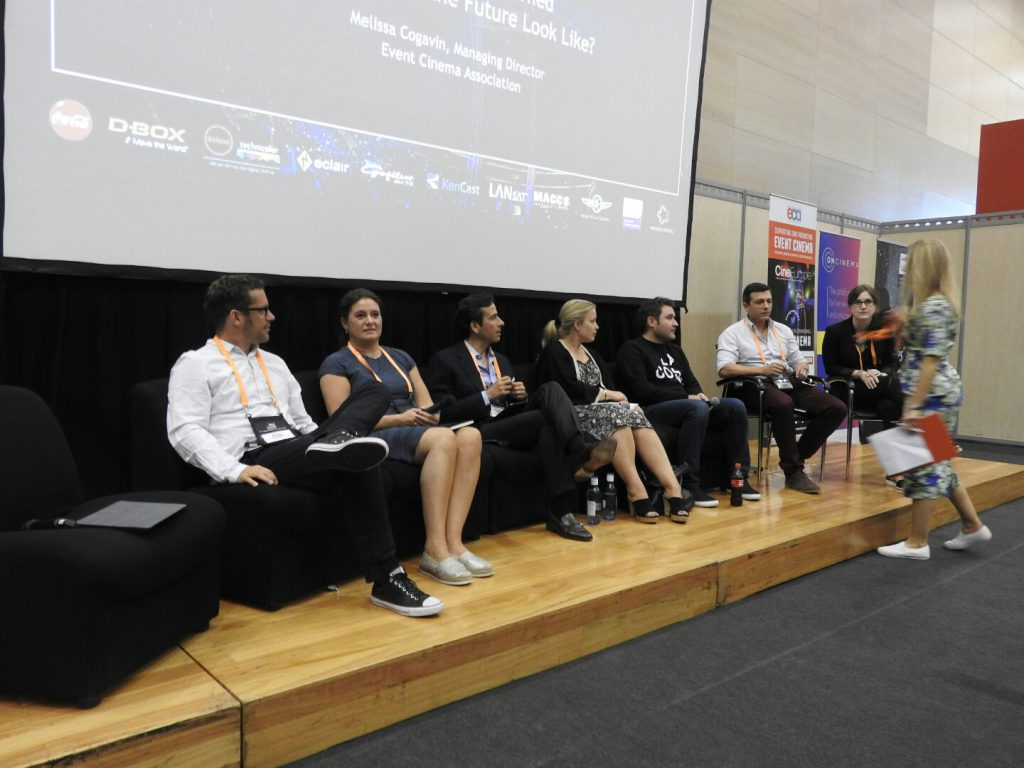 The event cinema panel at CineEurope, minus moderator James.