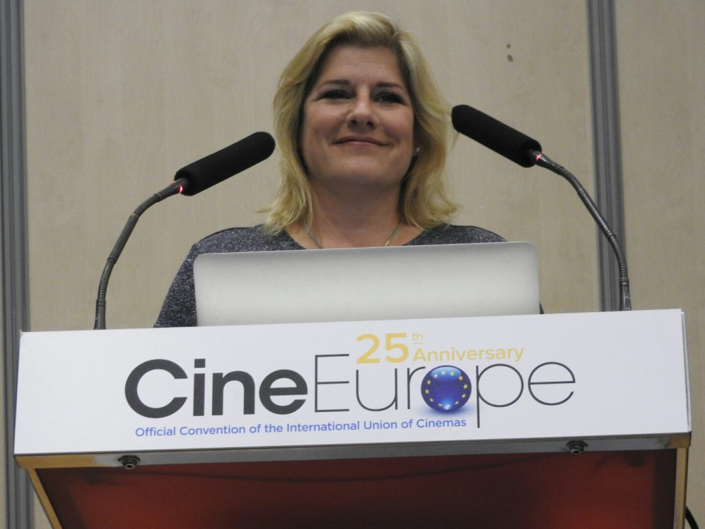 ECA's Melissa Cogavin speaking at CineEurope 2016