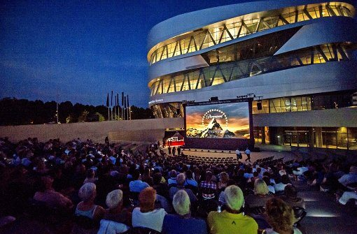 Open-air cinema at the Mercedes-Benz museum in Stuttgart.