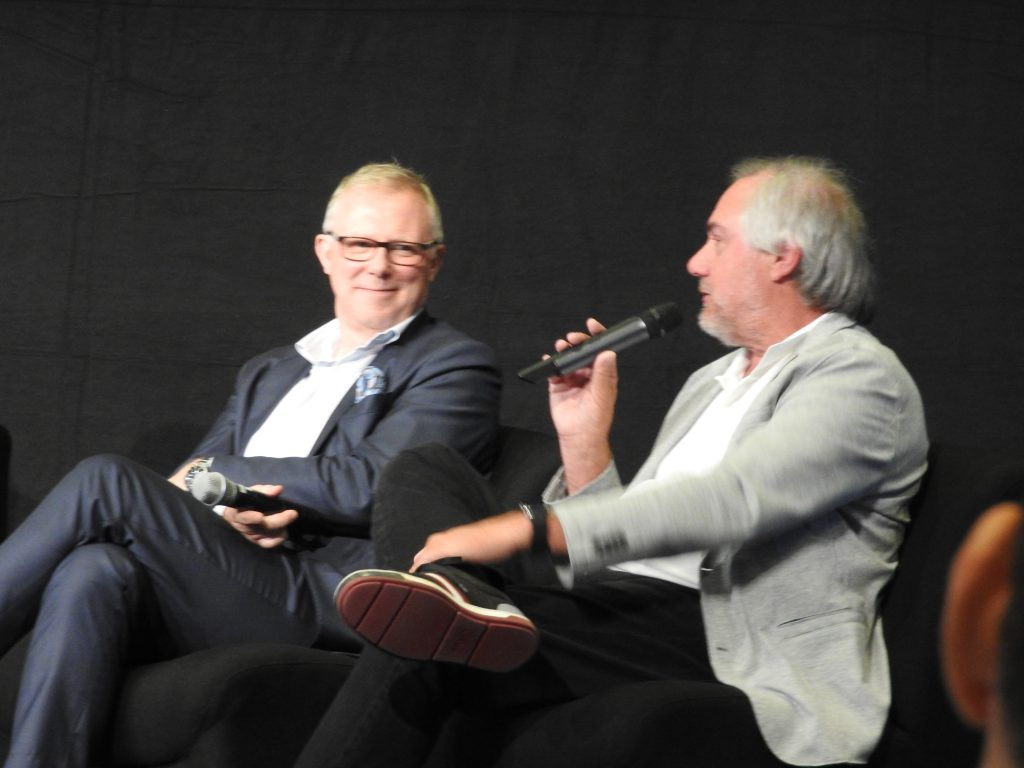 NCG's Bernhardsson and Carmike's Passman at CineEurope.