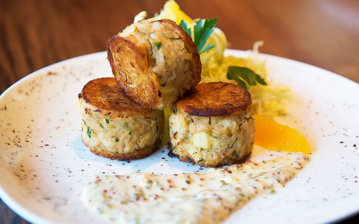 Tuck Room Tavern's Brioche Crusted Crab Cakes