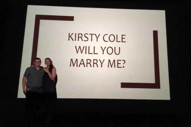 Luigi Lebaldi's big screen proposal to Kirsty Cole at the Dukes Cinema, Lancaster.
