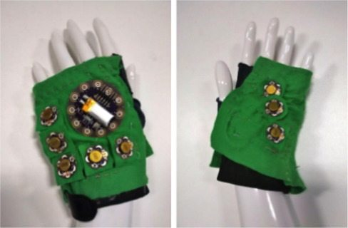 Glove prototype. Back of the glove (left), and palm (right)