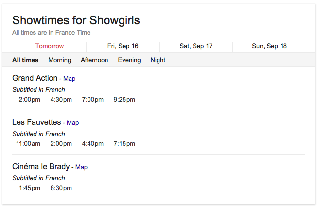 Paris showtimes for Showgirls