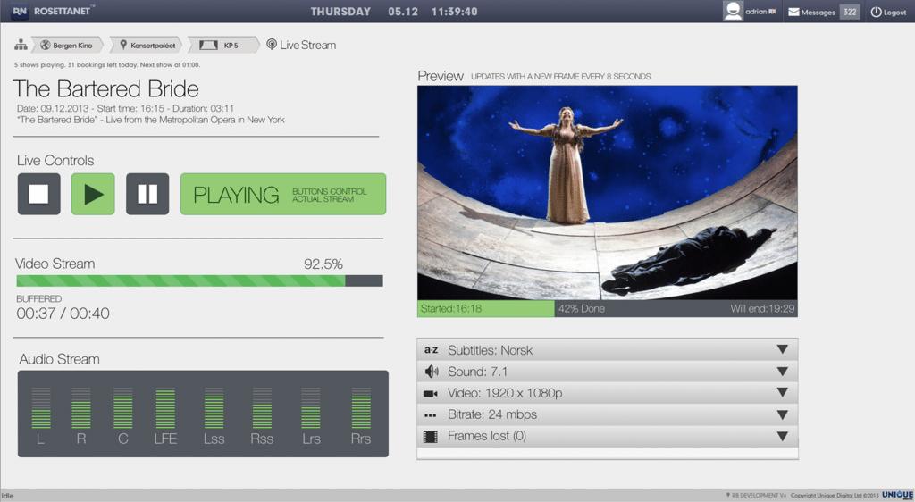 Unique Digita Rosetta Live interface