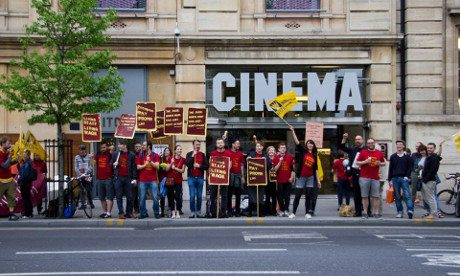 Hackney Picturehouse staff striking - back in 2014. (picture: Hackney Citizen)