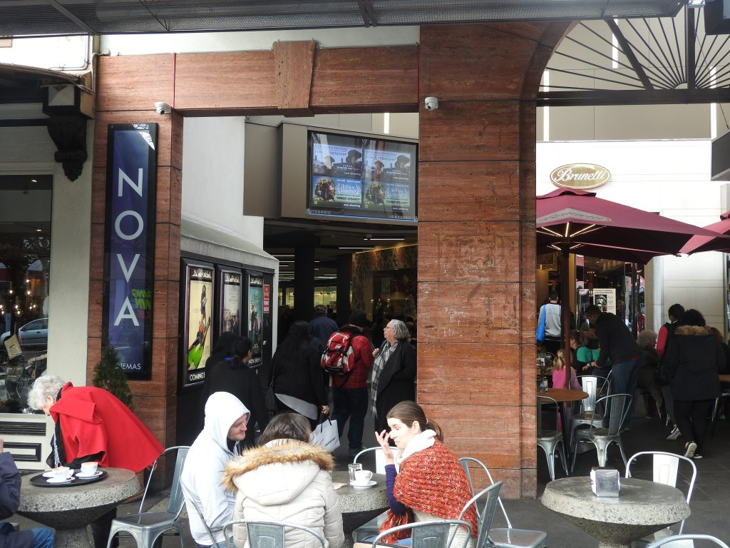 The entrance to Cinema Nova, Melbourne - and Brunetti! (photo: Patrick von Sychowski / CelluloidJunkie.com)