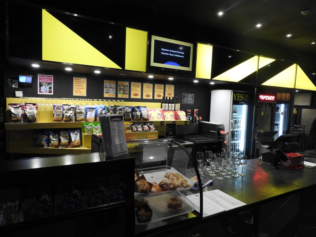 Nove Cinema, Melbourne, concessions stand.