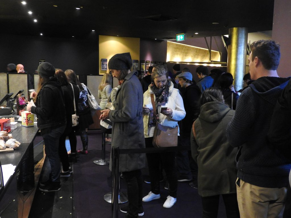 Standing patiently in line at Cinema Nova, Melbourne.