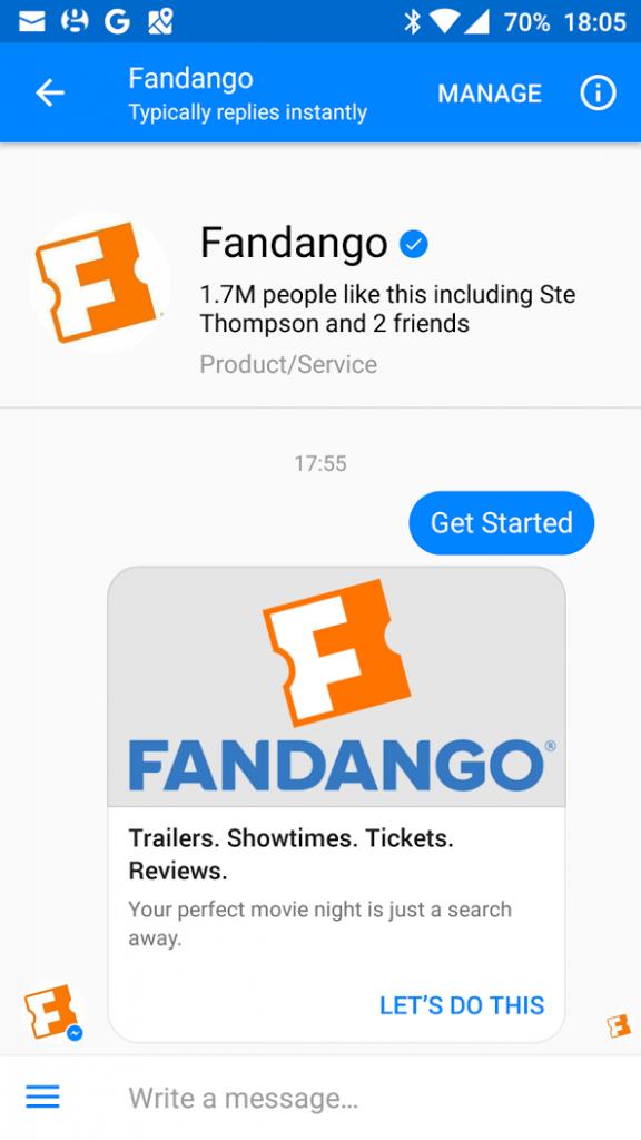 Fandango Facebook Messenger bot