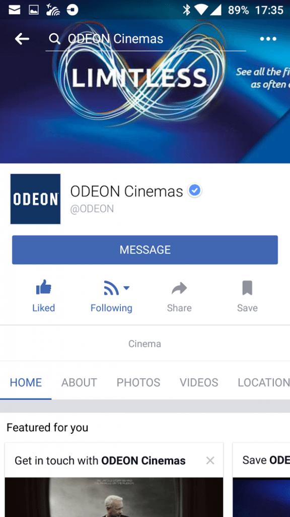 Odeon Facebook