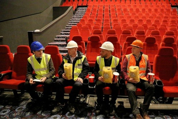 Cineworld managers (the ones with popcorn) interviewed by Harlow Star journalist (with notepad). (photo: Harlow Star)