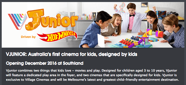 Junior Village Cinemas Southlands Melbourne