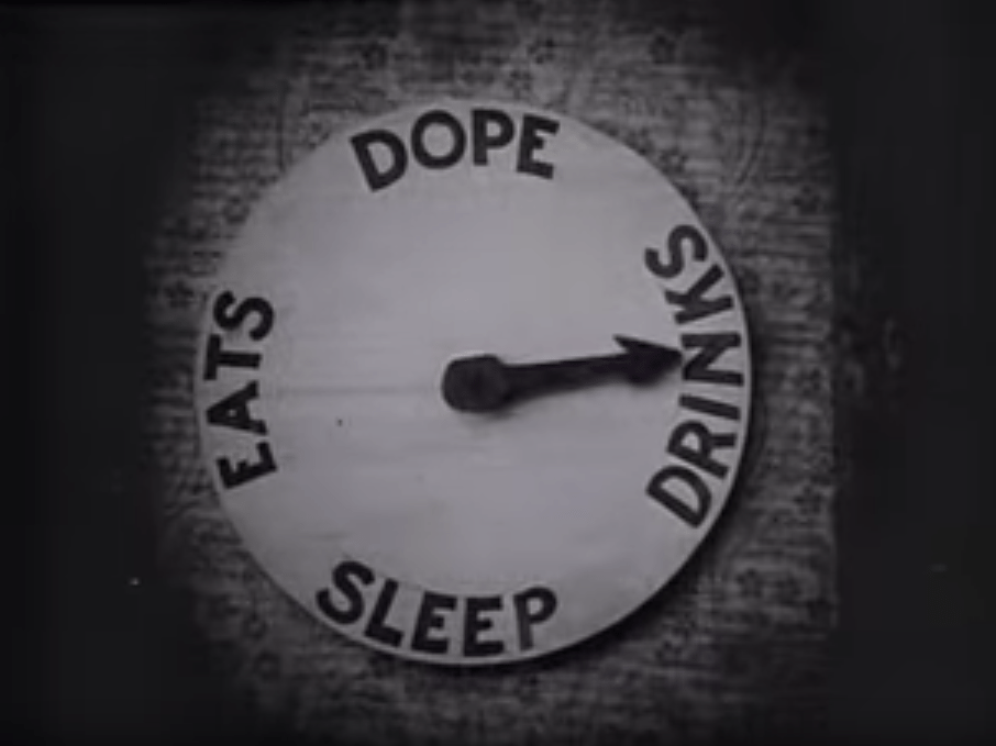 "Eats Dope Drinks Sleep clock - ""The Mystery of the Leaping Fish"""