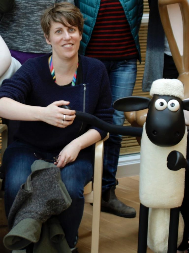 Maddy Probst and Shaun the Sheep.