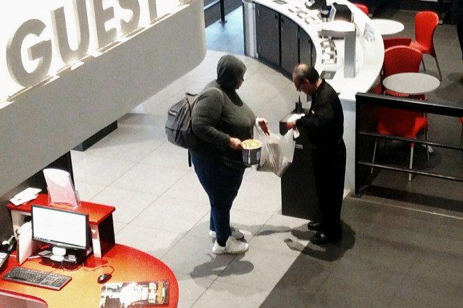 """""""Even more food?"""" Cinépolis NYC bag check. (photo: New York Post)"""