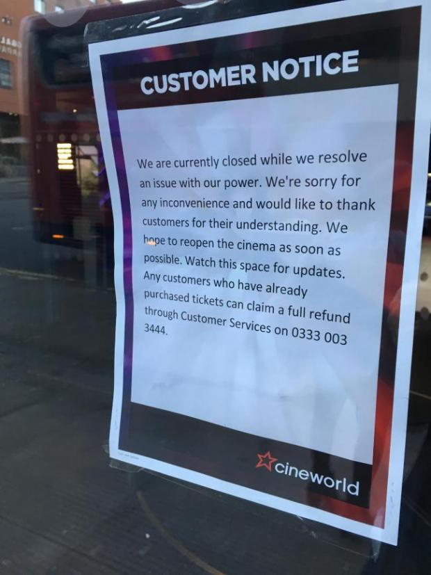 Glasgow Cineworld notice. (photo: Evening Times)