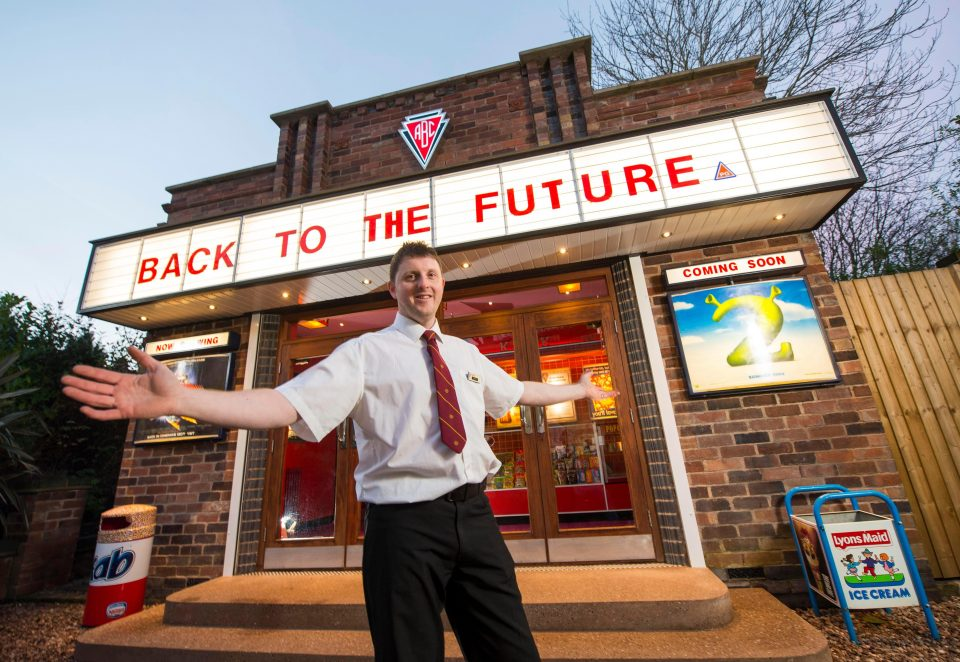 Bus driver Anderson spent four and a half years building a cinema in his back garden. (photo: The Sun)