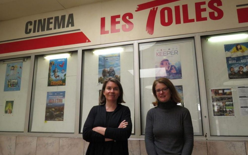 Séverine Rocaboy, director of the cinema (left), and Karine Berthier, deputy mayor in charge of culture (right) (photo: Le Parisiene)