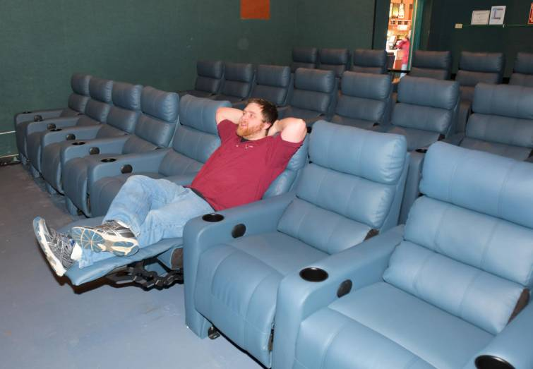 Zurich seated in his Rome cinema. (photo: (John Clifford / Rome Sentinel)