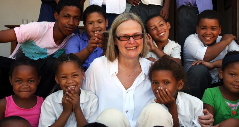 Lexi Cinema Founder Sally Wilton with Children in Lynedoch in South Africa