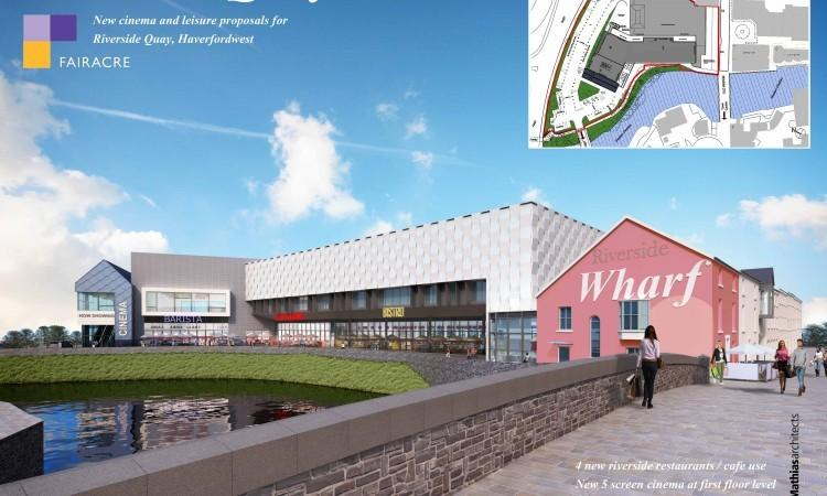 Premiere Cinemas in Haverfordwest - but careful with that river. (image: artist's impression)
