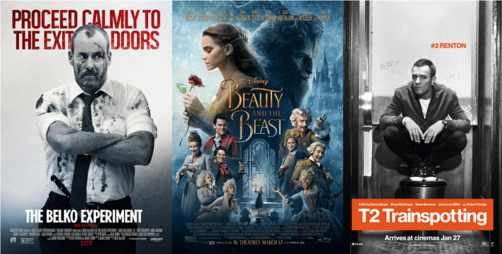 The Belko Experiment, Beauty and the Beast, T2 Trainspotting posters