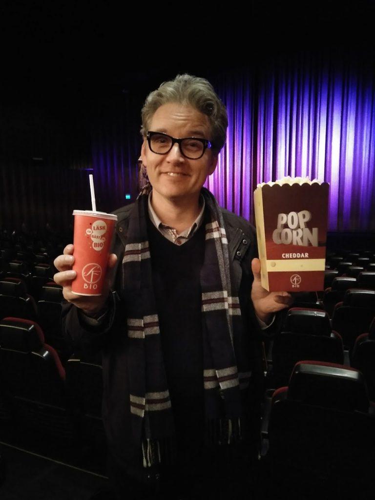 Patrick von Sychowski with SF Bio's famous Cheddar Popcorn