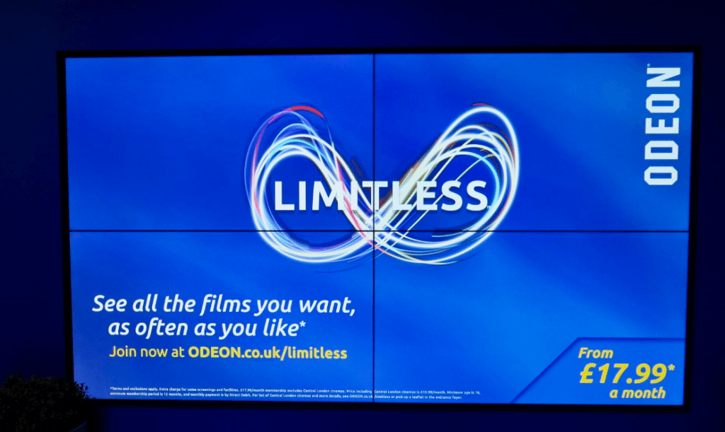 Odeon Limitless advertised in Odeon Bournemouth. (photo: Martek)