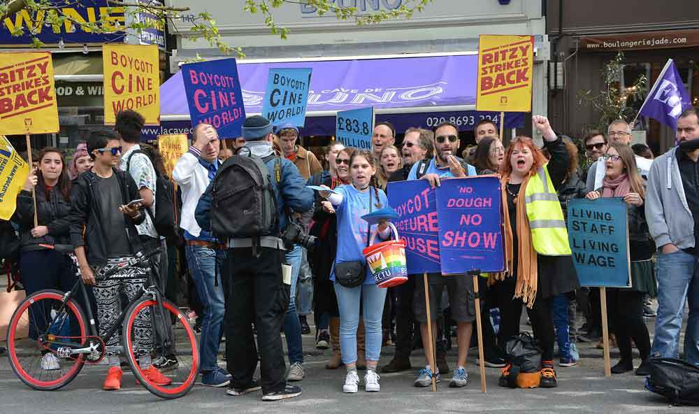 Striking Picturehouse workers in Dulwich. (photo: Brixton Blog)