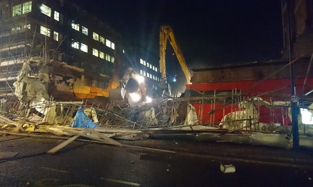 Rubble of the collapsed Odeon building. (photo: @exitdave / Twitter)