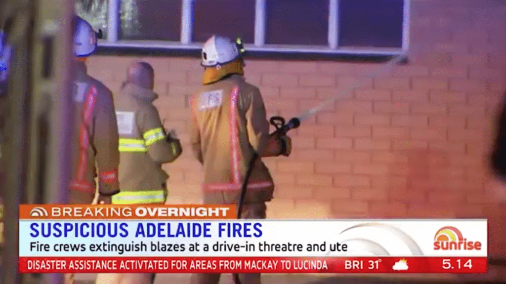 Mainline Gepps Cross cinema fire. (screenshot: Sunrise)