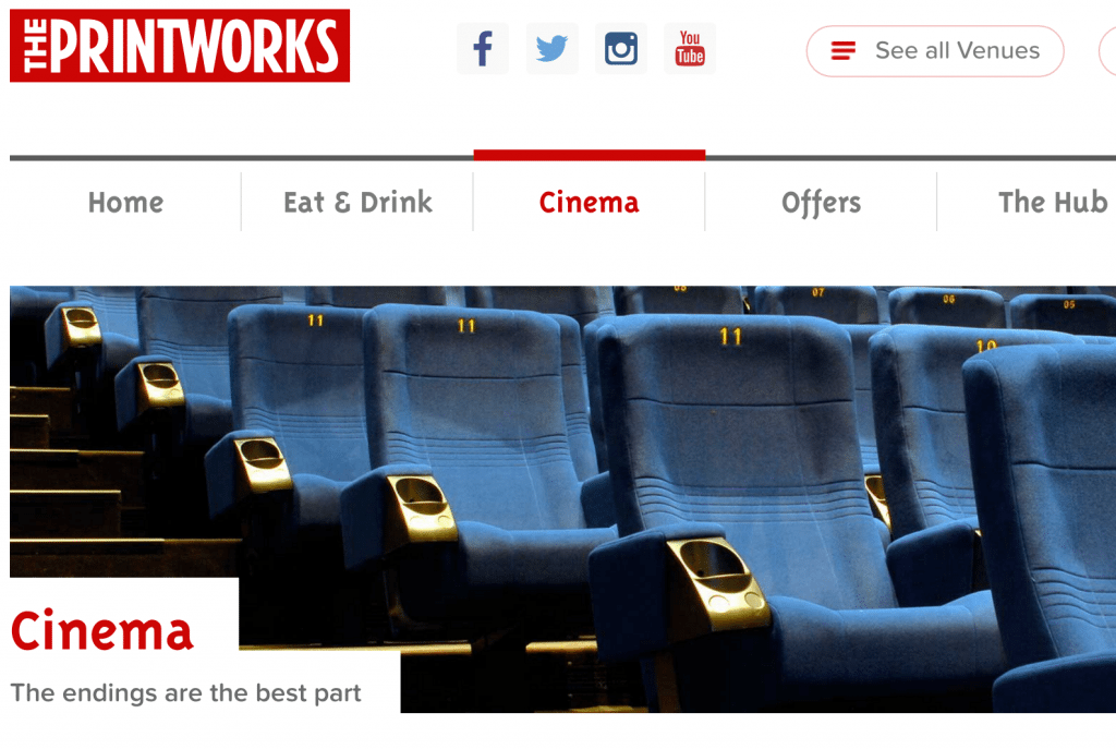 'The End' for Odeon at The Printworks. (image: Printworks' website screengrab)