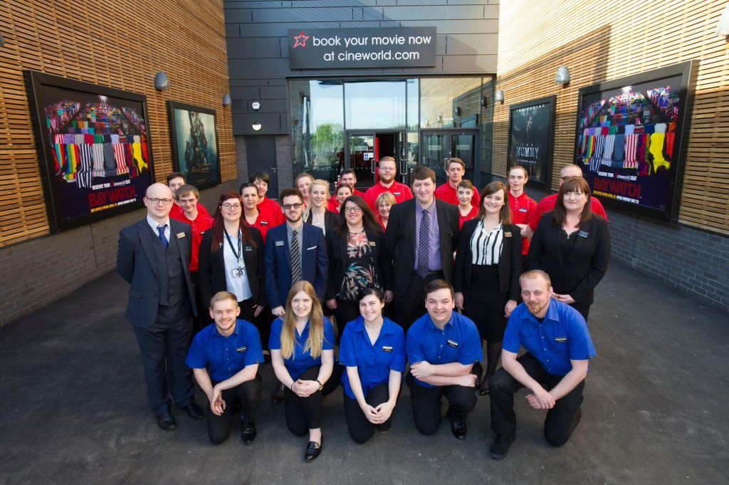 Staff in front of the new Ely Cineworld. (photo: David Johnson)