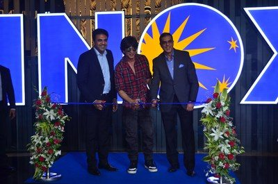 Shah Rukh Khan (centre) and Inox's Siddharth Jain (right) opening ceremony. (photo: Inox)