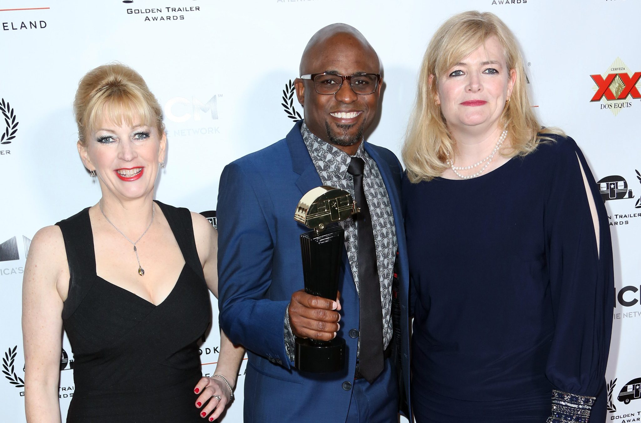Evelyn Watters, Wayne Brady and Monic Brady at the 18th Annual Golden Trailer Awards